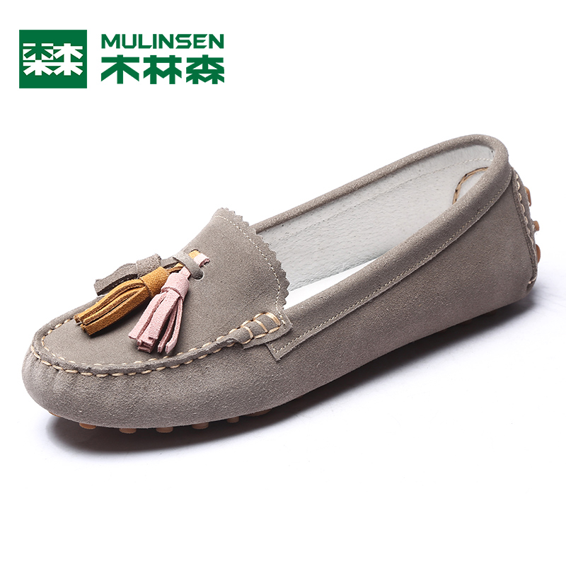 Mulinsen shallow mouth single shoes 2018 autumn new Korean fashion tassel knot women's shoes round head cover flat shoes tide