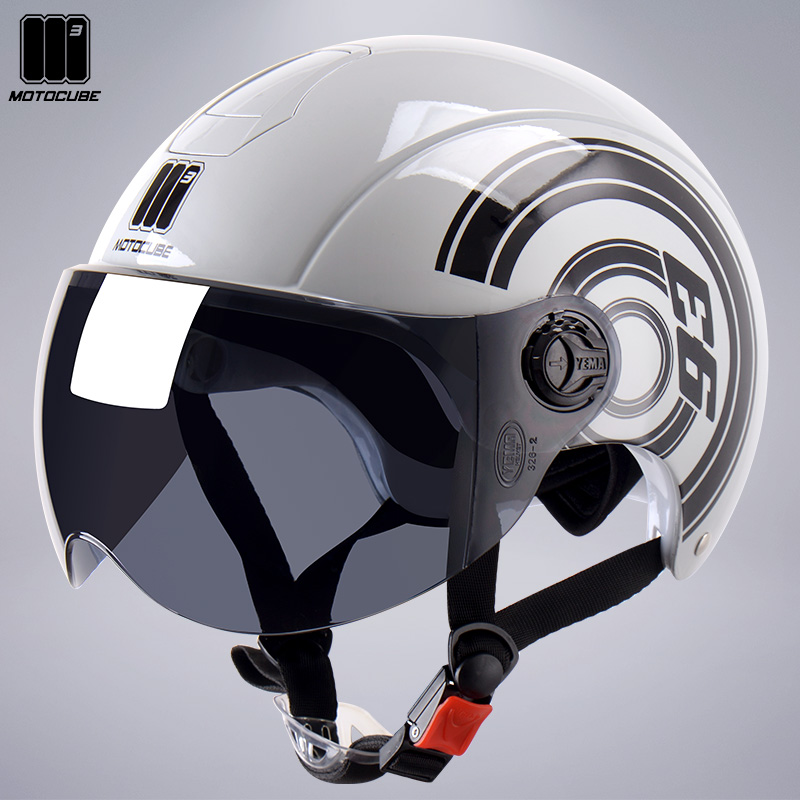 3C Certified Mustang Moto Cubic Electric Car Helmet Mens and Womens Summer Sunscreen Semi-HelmetEd Battery Car Hard Hat Summer