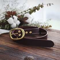 Stay summer handmade custom head layer cowhide leather Italian imports vegetable tanned brass ladies belt belt wine red