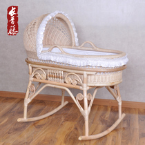Evergreen Ivy pure natural real rattan baby bed green paint baby cradle bed baby Shaker bed BB rattan bed shaker
