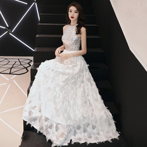 Silver white long section ladies banquet elegant sexy bridesmaid dress