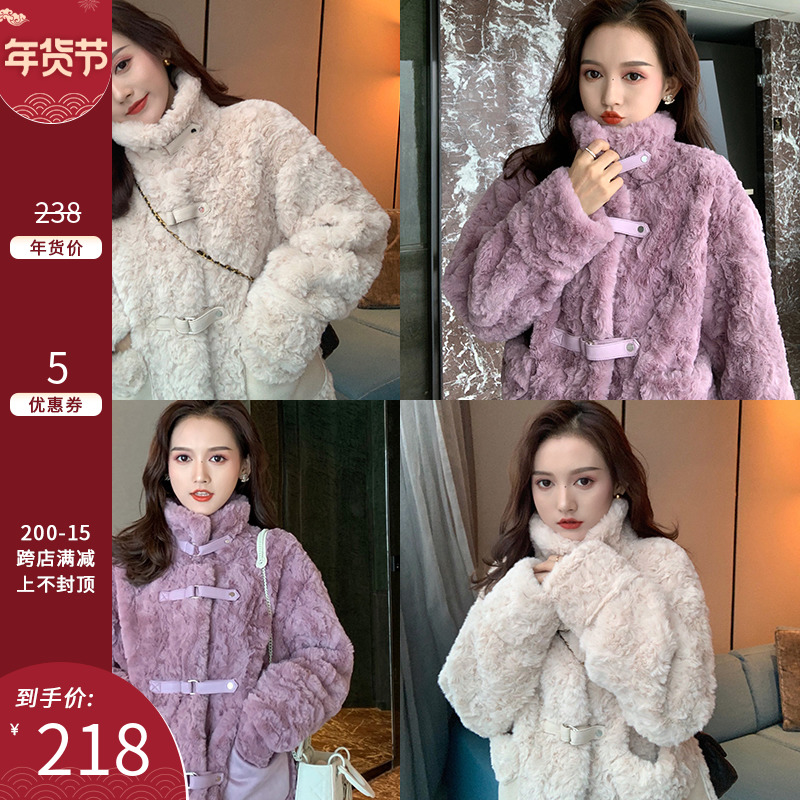 Cut cake homemade hin warm and fur all-in-one lamb fur imitation fur plus thick plush short coat female autumn winter new model