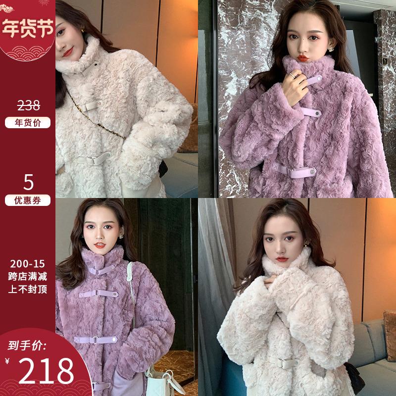 Cut cake homemade hin warm and fur all-in-one lamb fur imitation fur plus thick plush short coat female autumn winter new model