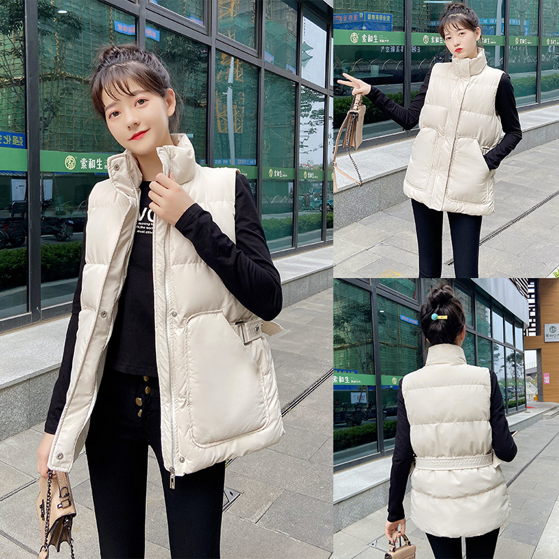 2020 new down cotton vest women autumn and winter Korean version of the black horse clip jacket outside a loose vest worn on the shoulder