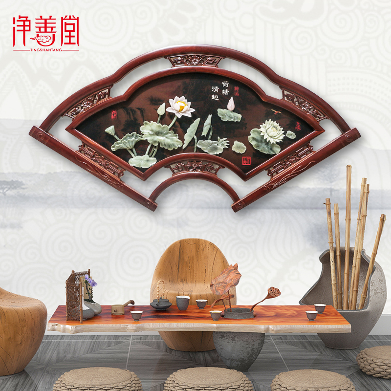 New Chinese-style porch wood carving decoration, bedroom wall hanging, living room sofa background wall hanging jade carving