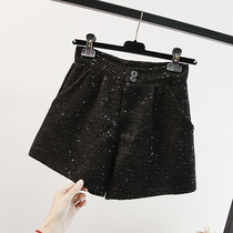Plus size womens pants loose sequins shorts outside the spring and autumn season fat sister high waist thin wide leg boots 200 kg