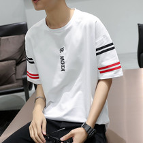 Korean version of the handsome loose students five-point Sleeve t-Shirt