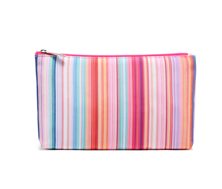Color vertical stripes large capacity beauty cosmetic bag clutch bag wash bag storage bag