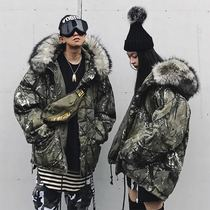 MAMC 17FW large fur collar branch camouflage splashes carving men and women the same paragraph couples cotton clothing hip-hop style mountain carving