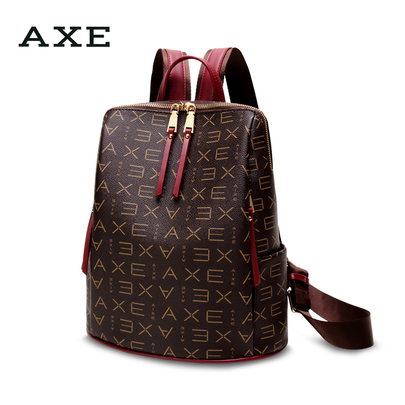 AXE shoulder bag female 2018 new autumn and winter fashion Korean version of the tide wild bag printing lady atmospheric backpack female AXE shoulder bag female 2018 new autumn and winter fashion Korean version of the tide wild bag printing lady atmospheric backpack female