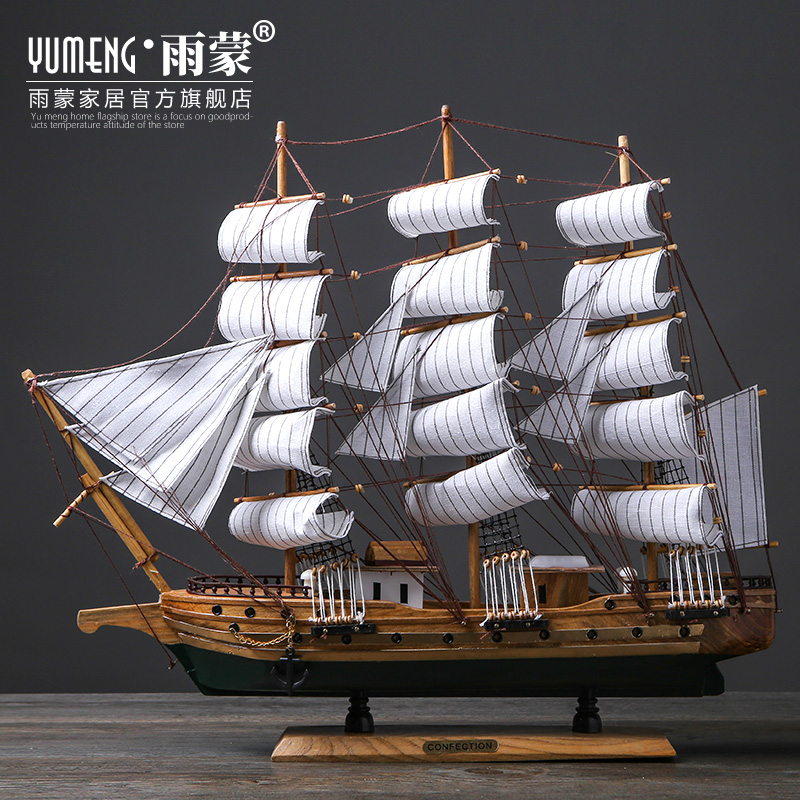 Creative wooden sailboat model living room TV cabinet household craft boat decoration wine cabinet