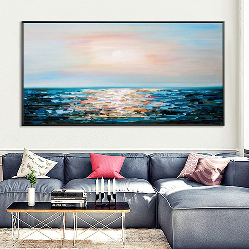 Pure hand-painted oil painting sea sunrise living room decoration sofa background wall hanging horizontal engraving mural modern light luxury wind