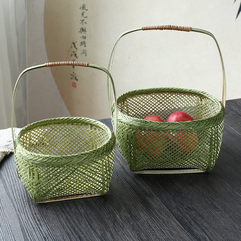 Bamboo knitted basket Bamboo basket Fruit basket Bamboo basket Receiving basket Household picnic basket Egg basket Bamboo products