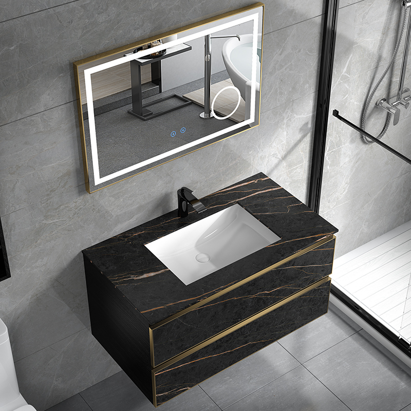 Rock slab light luxury bathroom cabinet combination wash basin cabinet modern simple intelligent washstand toilet washstand basin cabinet