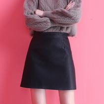 Black leather skirt skirt Women summer skirt high waist autumn winter winter skirt autumn skirt spring and autumn skirt A- line dress
