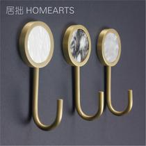 Каменный узор латунные крючки дизайнер оригинальный скандинавский прихожая кухня ванная комната декор металл один гвоздь крючки