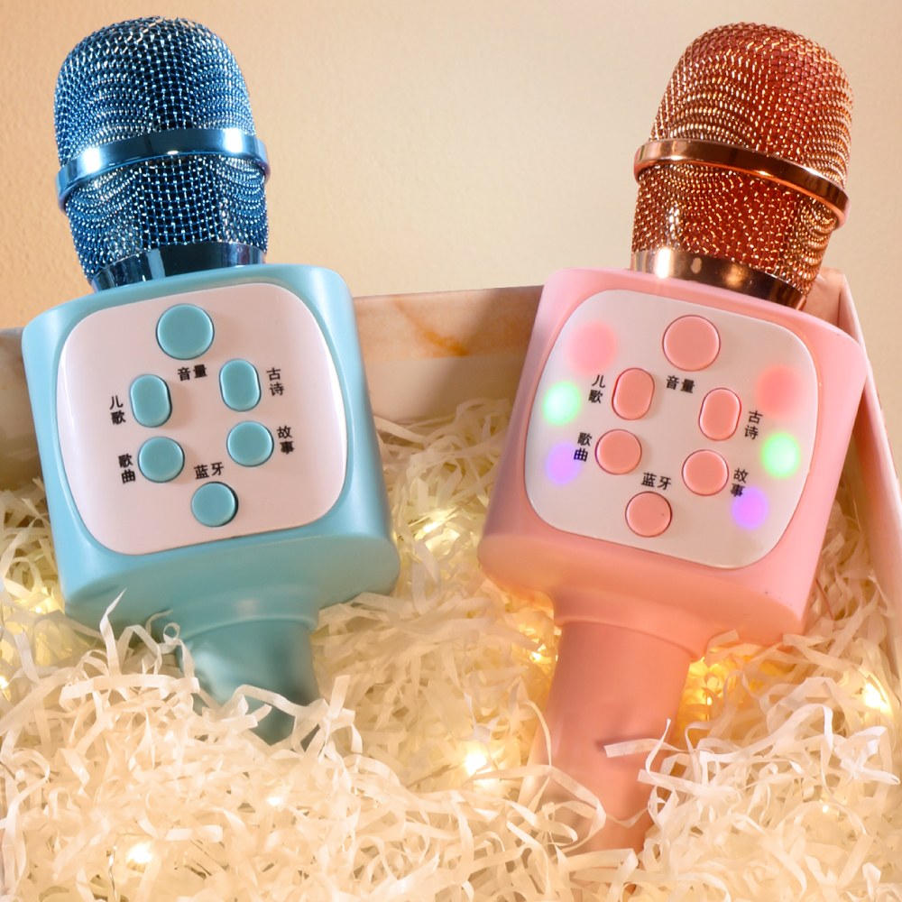 Childrens small microphone toddler toy karaoke singing machine audio all-in-one mobile phone microphone wireless Bluetooth girl