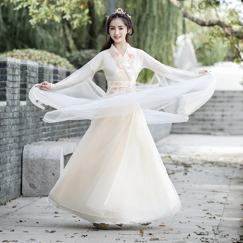 Hanfu female fairy Chinese style Han element elegant super fairy ancient style students waist collar spring and summer small costume
