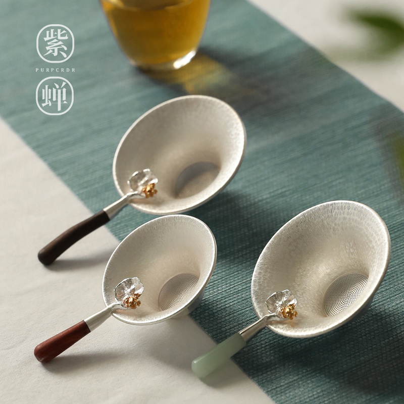 Silver tea leakage pure silver 999 pure handmade pure silver tea leak filter tea filter tea ceremony accessories silver tea set filter