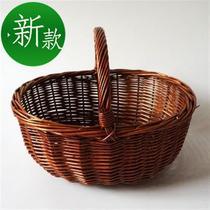 野餐篮子手提藤编水果神器挎篮田园柳编游泳茶叶日式◆新品◆大容