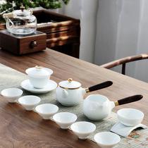 CATHYLADI轻奢功夫茶具套装家用客厅盖碗高档羊脂玉瓷茶具白瓷