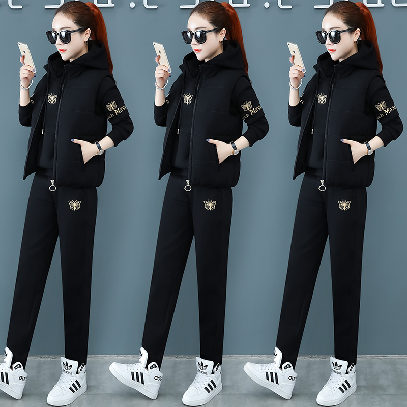 Winter womens suit plus plus-thick jacket long pants three-piece set fashionable age-reducing warm-up size sportswear