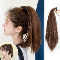 Wig female long girl group Fake ponytail Dirty braids Strap type bright silk temperament High ponytail natural invisible volume straight hair tail