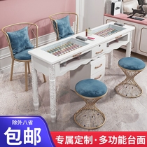 New nail table and chair set single and double three-person nail shop European modern simple net red nail table display stand