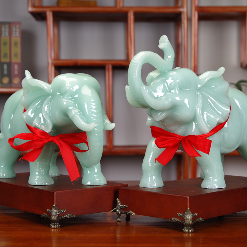 Jade elephant decoration a pair of Joe moved to open the gift office table living room wine cabinet home elephant decoration craft gift decoration