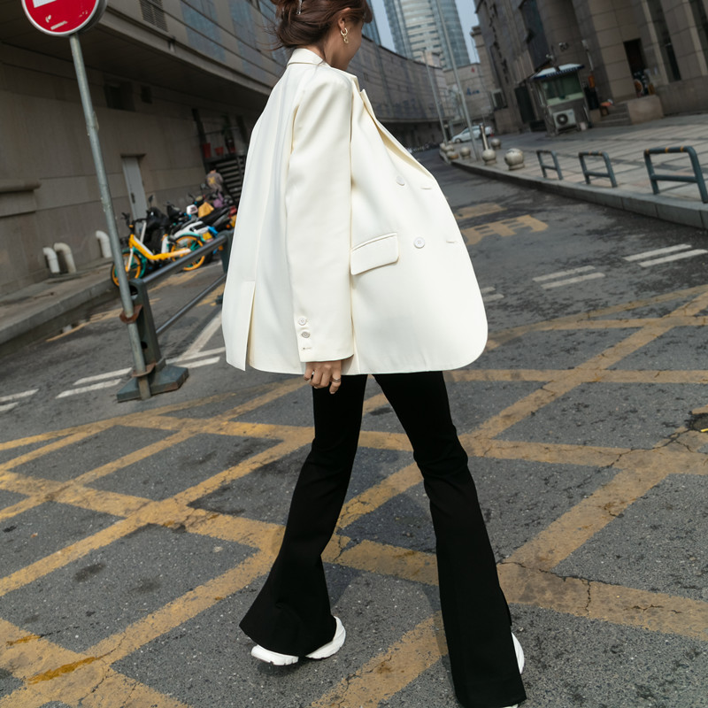 2021 spring and autumn new item high sense white blazer women thin design sense niche casual small suit top