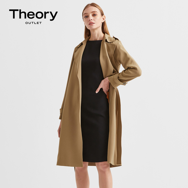 Theory Outlet New Womens Triacetate Blend Wide Lace-up trench coat K109402R