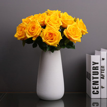 High-grade simulation flower rose hand moisturizing bouquet fake flower living room high-quality single ornament decoration decoration white