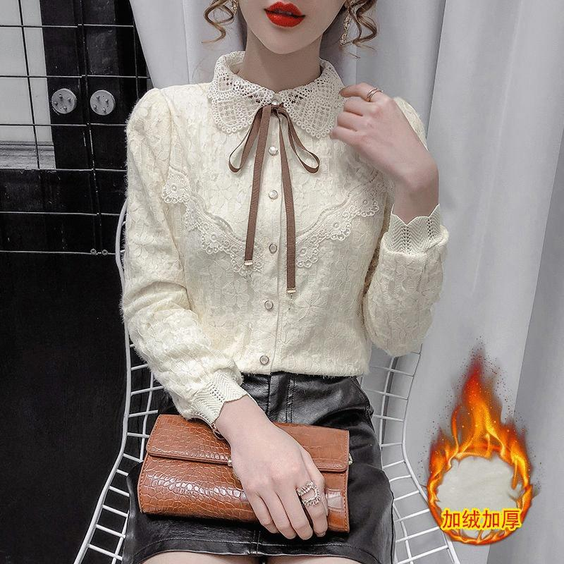 Lace velvet bottoms womens autumn winter fashion pie with thick lace 繫 with a shirt doll collar shirt