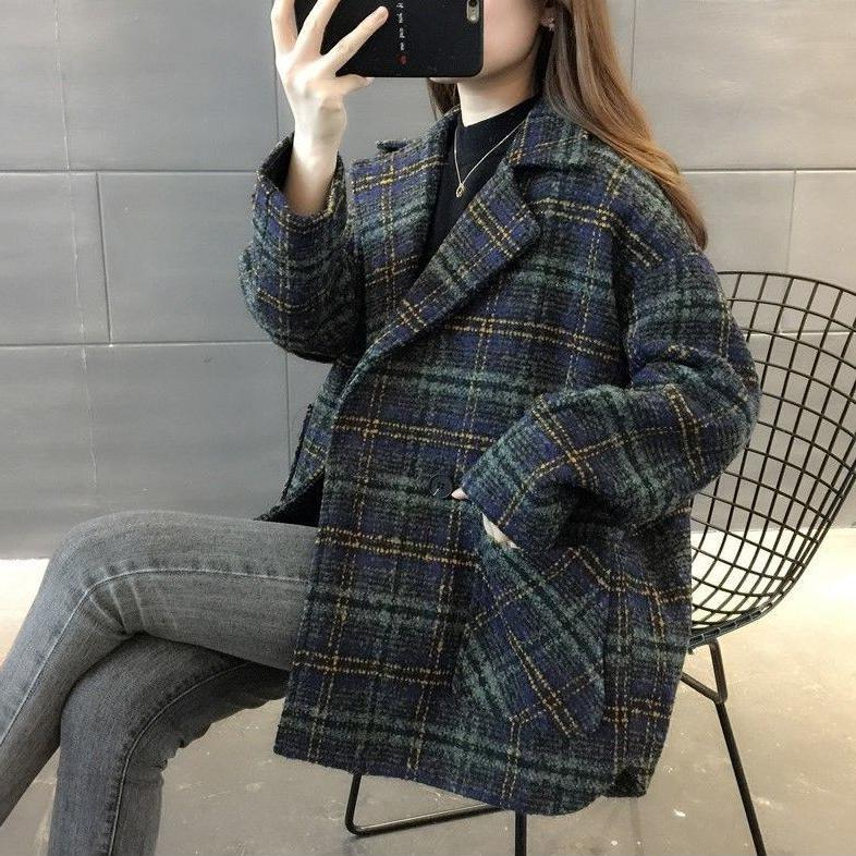 Grid suit jacket autumn and winter new Korean version of the fashion British style loose thin medium and long version of hair overcoat female tide