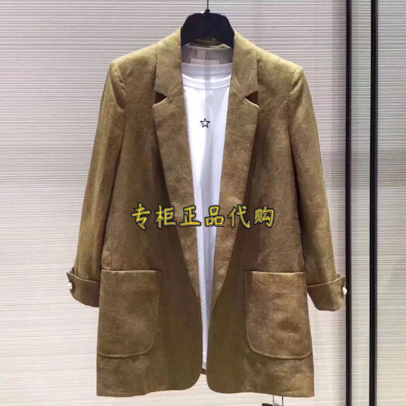 Brothers new official website brand womens clothing counters 2021 spring casual three-point sleeve linen blazer