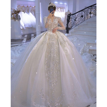 French wedding dress 2021 new bride long sleeve Palace wind high-end heavy industry luxury big tailing premium texture main yarn