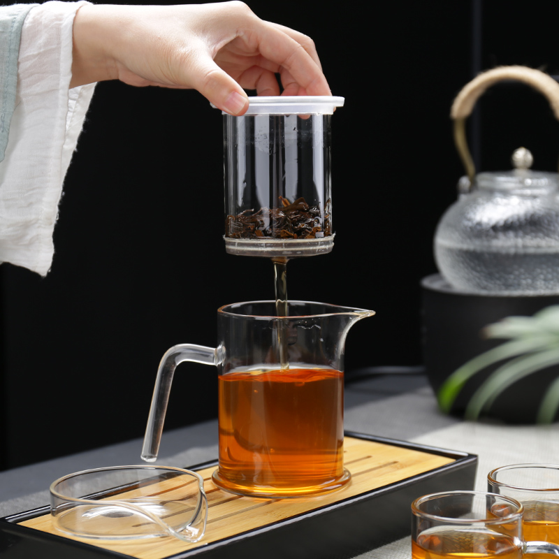 Heat-resistant glass teapot filter black tea 沖 teaware tea separation tea cup small family kung fu tea set