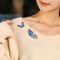 Colored butterfly brooch retro Chinese style simple temperament brooch pin dress coat accessories light luxury girl.