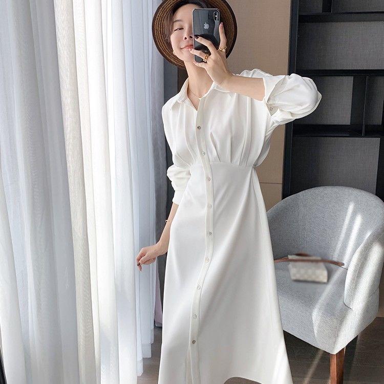 2021 New jellyfish white shirt dress cardigan design niche waist thin a-word long skirt girl spring and autumn