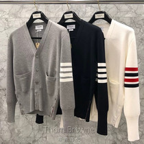 Roll-up day generation Thom Browne 20 autumn winter TB cardigan cardigan sweater mens and womens sweater jacket