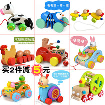Drag toddler Toy Pull baby child trolley hand pull rope pull line toy car 1-3 year old baby toy