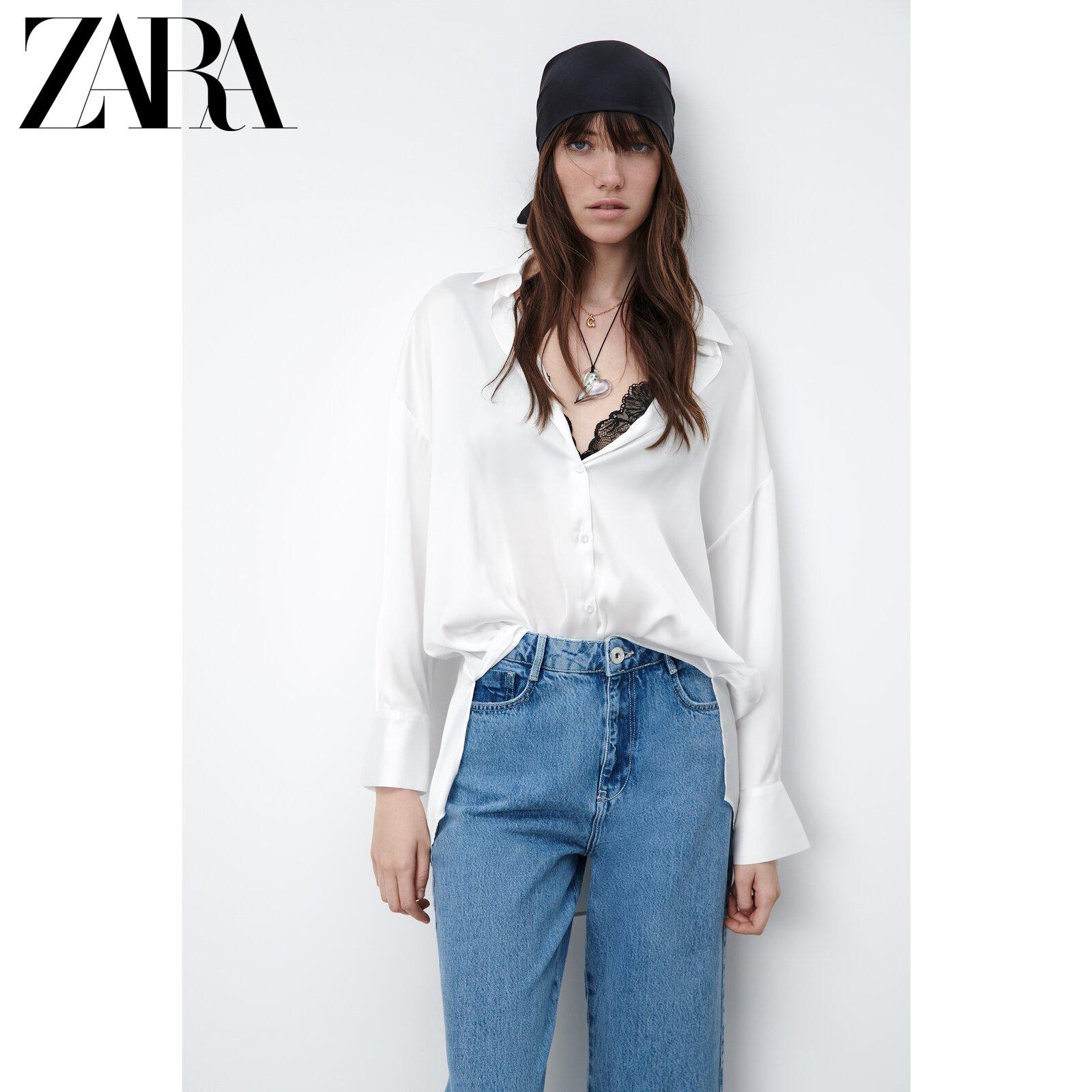 ZARA new womens silk satin texture loose white shirt 03666060250