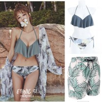 Ins sexy bikini swimsuit Womens sunscreen blouse Three pieces cover shower couple swimsuit swimming pants Man