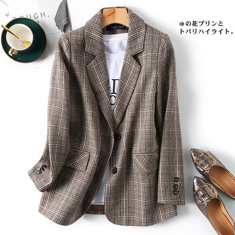 British style sub-small blazer women 2021 spring new Korean version of casual large size loose suit women top