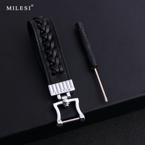 Miller head layer cowhide Car Key Chain men's waist hanging BMW VW Mercedes Benz Car Key Chain pendant