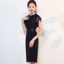 Show Skinny Black Party Korean version lace Birthday party evening Dress