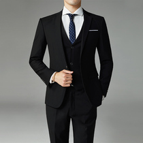 Korean version of self-cultivation suit suit mens autumn and winter three-piece suit business professional dress groom wedding dress casual suit
