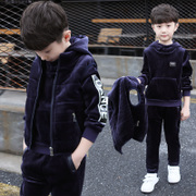 Big boy Kids Boys Winter suit 2017 new children in autumn and winter with cashmere sweater boy thickened three piece