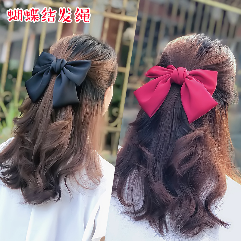 Japanese black large bow hair clip net red 2020 new back-of-the-head temperament childrens headdress top clip card