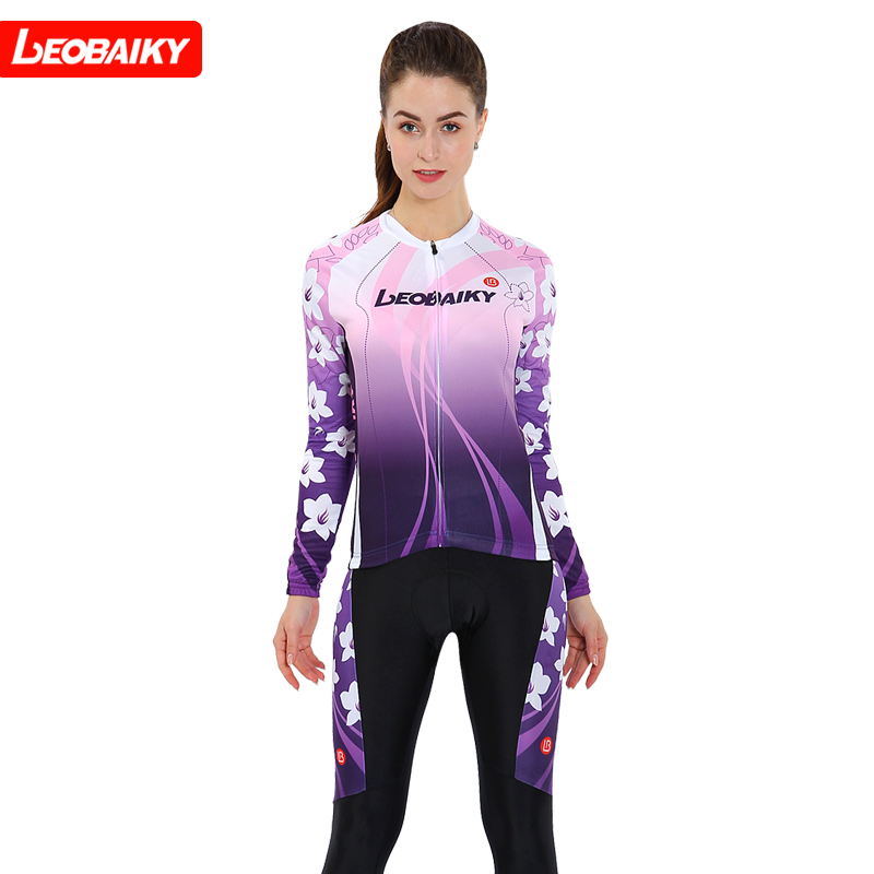 LEOBAIKY long-sleeved cycling suit women's suit spring and autumn charm self-cultivation bicycle cycling jacket trousers